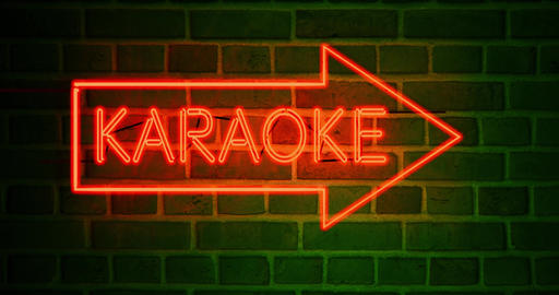 Neon karaoke sign shows bar has open mic or private booths - 4k Animation