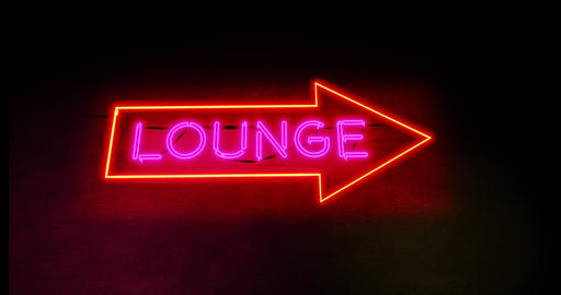 Neon lounge sign glowing text shows airport bar for relaxation and alcohol - 4k Animation