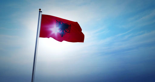 Albanian flag waving represents the Republic of Albania people - 4k Animation
