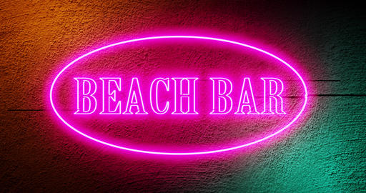 Beach bar sign neon graphic illuminated means summer restaurant bar - 4k Animation