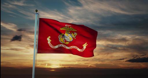 Usmc flag-waving represents the united states marines corps - 4k Animation
