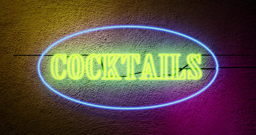 Neon cocktails sign outside tropical bar shows nightclub or bar entrance - 4k Animation