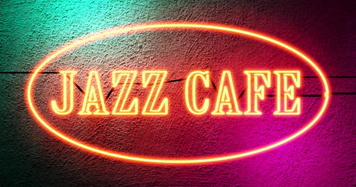 Jazz Cafe sign shows entrance to musical bar entertainment - 4k Animation