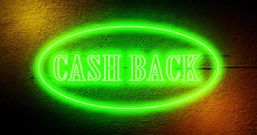 Cash back neon sign above store depicts discount sale as cashback - 4k Animation