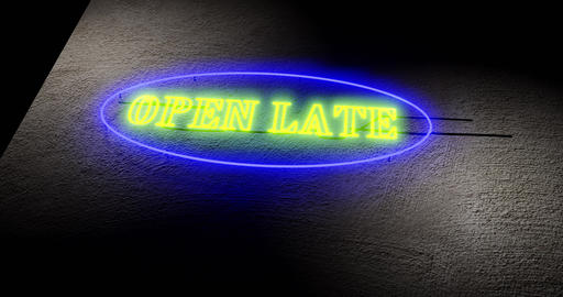 Open late sign shows 24-hour store always open around the clock - 4k Animation