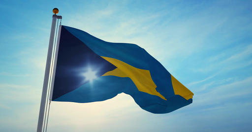 Bahamas flag waving a patriotic sign for bahamian people or tourism - 4k Animation