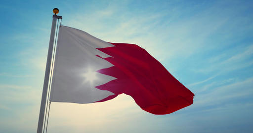 Bahrain flag waving a patriotic sign for bahraini people or tourism - 4k Animation