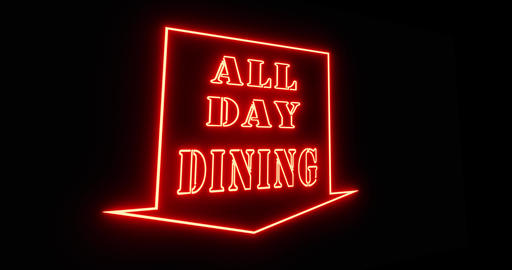 All day dining means round the clock meals in a restaurant - 4k Animation