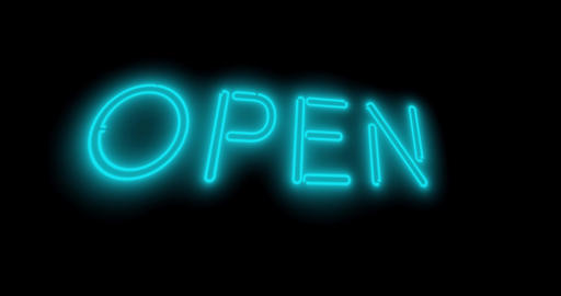 Open sign in glowing neon and illuminated at a store entrance - 4k Animation