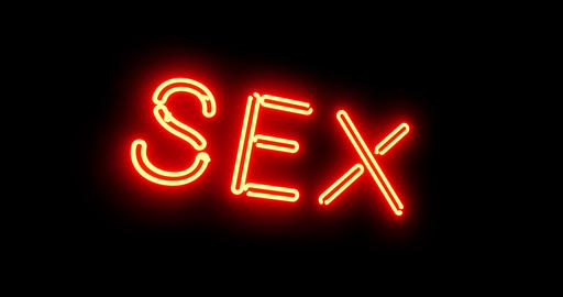 Sex sign as illuminated neon advertising for nightclub or massage - 4k Animation