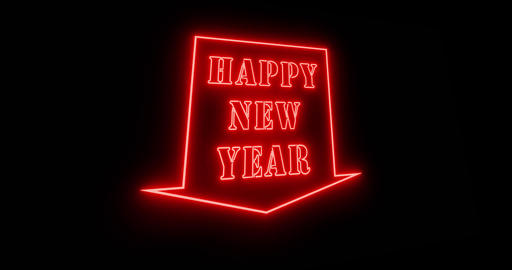 Happy New Year neon sign to celebrate a festive event occasion - 4k Animation
