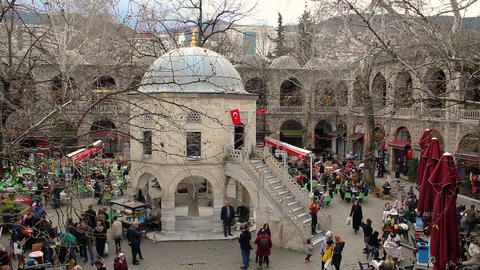 """Koza Han"" Caravanserai in Bursa old history touristic silk bazaar and fountain. Daily life in old Live Action"