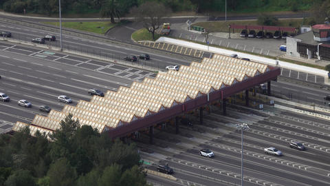Aerial view on toll collection point on motorway Live Action