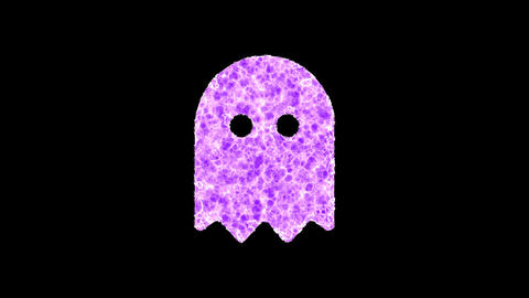 Symbol ghost shimmers in three colors: Purple, Green, Pink. In - Out loop. Alpha channel Animation