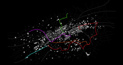 3D Rendering city map with GPS navigator and different color route waypoint over the dark background GIF
