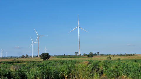 Scenic landscape of wind turbine for electric generation eco and clean power Live Action