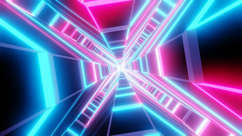Blue pink cross shape tunnel abstract animation Animation