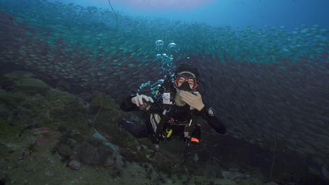 Female SCUBA diving through big school of fish and blows kiss koh tao thailand Live Action