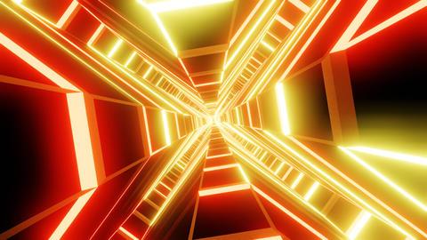 Red orange cross shape tunnel abstract animation CG動画
