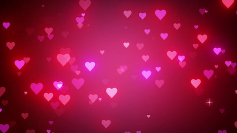 Romantic pink background with shiny hearts. Symbol of love. Valentine's card. 3D animation Animation