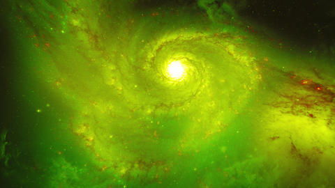 Rotating green spiral galaxy. Star fields and nebulas in space. Deep space Live Action