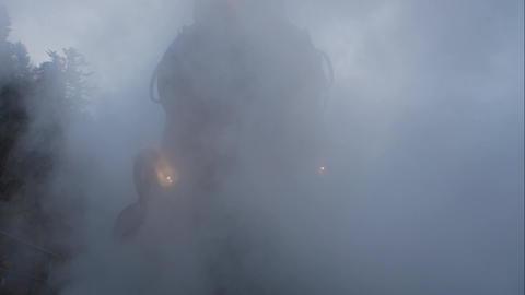 Old vintage locomotive in the steam fog Acción en vivo