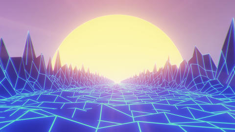 Camera navigating into a low poly wireframe mountain landscape at sunset, retrowave vintage looping Animation