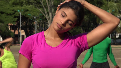 Fit Young Woman Stretching Her Neck Live Action