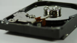 Opened Hard Drive Isolated On White, Media, Technology, Pan Stock Video Footage