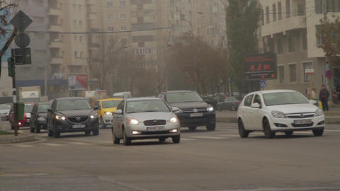 Busy Autumn Day In The City, Heavy Traffic, Foggy Cold Day Stock Video Footage