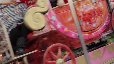 Happy Kids In Winter Fair Carousel, Merry Go Round, Dutch Angle, Close Up Footage
