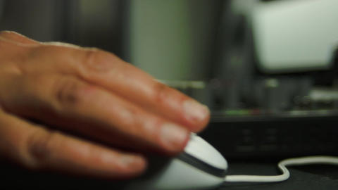 Editor's Hand On Mouse With Rack Focus On Sound Mixer, Editing Group, Media, Pan Footage