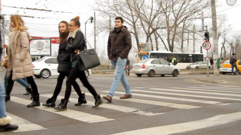 Busy Autumn Day, Cloudy, Pedestrians Crossing, Cars Passing By, Heavy Traffic Footage