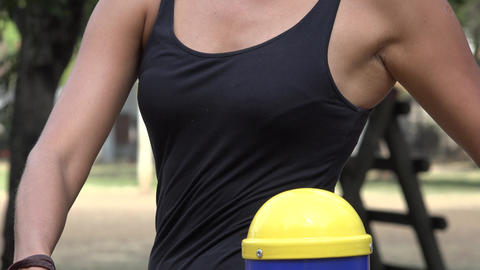 Waist Of Thin Woman Working Out Footage