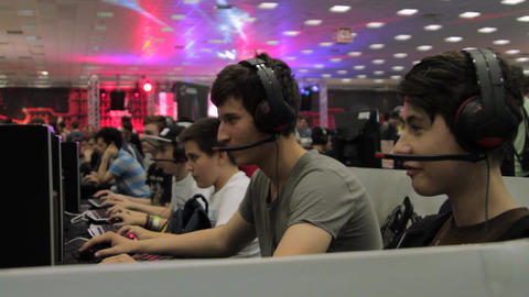 Gaming Tournament At Convention, Kids Playing Video Games, Comicon, Online Games Footage
