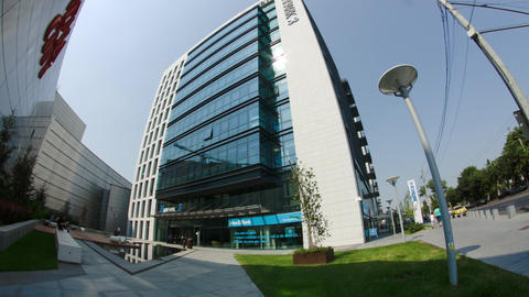 Big Business Center In Bucharest, Modern Architecture And Design, Busy Day, Tilt Live Action