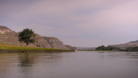 Missouri river shot from a moving canoe along the Lewis and Clark national histo Footage