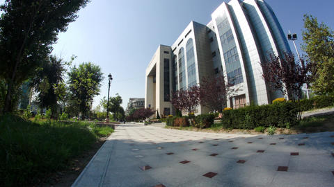 Business Building In Bucharest, Modern Architecture, Corporate Building, Pan Footage