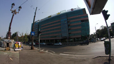 Business Center In Downtown Bucharest In A Weekend, Slow Day, Slow Traffic Footage