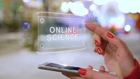 Female hands interact HUD hologram Online science Live Action