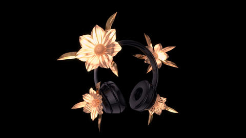 Abstract background of headphones with golden flowers Animation