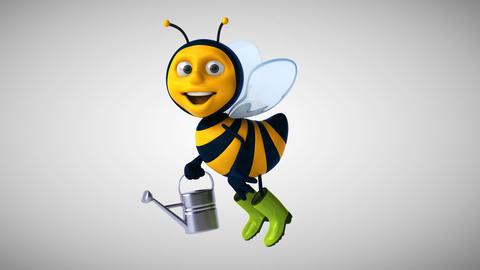 Fun 3D cartoon gardener bee Animation