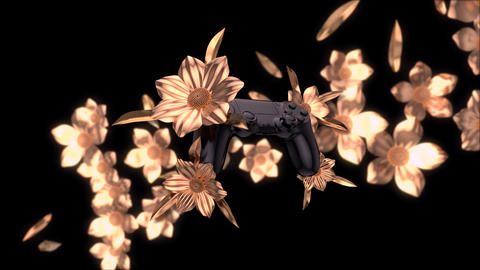 Abstract background of gaming with golden flowers Animation