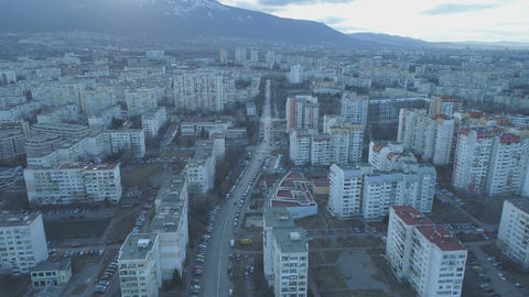 Sofia urban area with streets and buildings, aerial view, Bulgaria Live Action