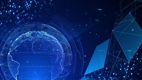 Digital data computer AI technologies concepts Background 5 blue15 CG動画