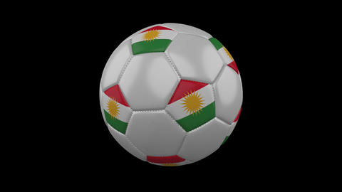 Kurdistan flag on a ball rotates on a transparent background, alpha channel loop Animation
