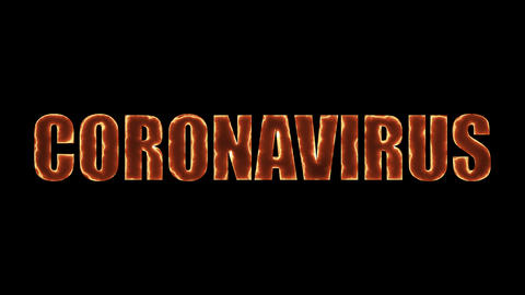Computer generated background with burning banner Coronavirus. 3d rendering of a Live Action