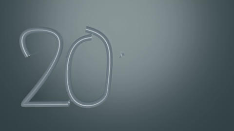 Animated Year 2020, silver numbers on dark gray background, gradual painting of Animation