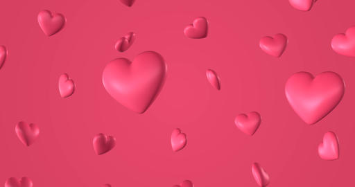 Romantic pattern with doodle pink hearts. For St. Valentines Day. wedding Animation