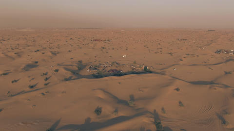 Aerial view of the camps used for desert tours near Dubai, United Arab Emirates Live Action
